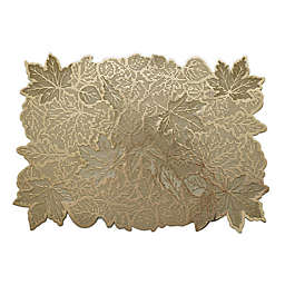 Fall Leaves Metallic Vinyl Placemat in Gold