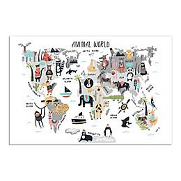 Animal World Map 24x36 Canvas
