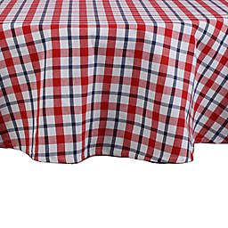 DII American Plaid 70-Inch Round Tablecloth in Red/White