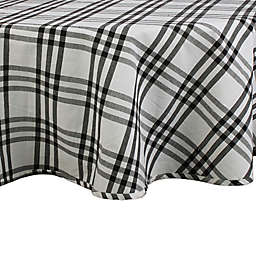 DII Homestead Plaid 70-Inch Round Tablecloth in Black