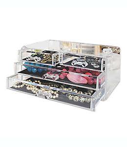 Organizador para cosméticos y joyería con 4 cajones transparente