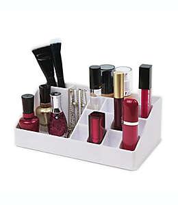 Organizador de poliestireno para cosméticos con 16 compartimentos color blanco