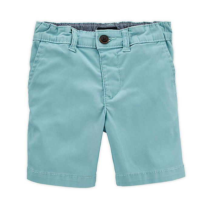 Alternate image 1 for OshKosh B'gosh® Size 12M Twill Short in Aqua