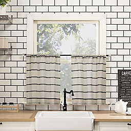 Clean Window® Twill Stripe 24-Inch Cafe Curtains in Black