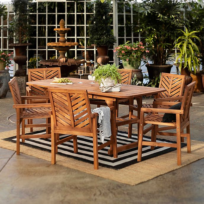 Alternate image 1 for Forest Gate Olive 7-Piece Outdoor Acacia Extendable Table Dining Set