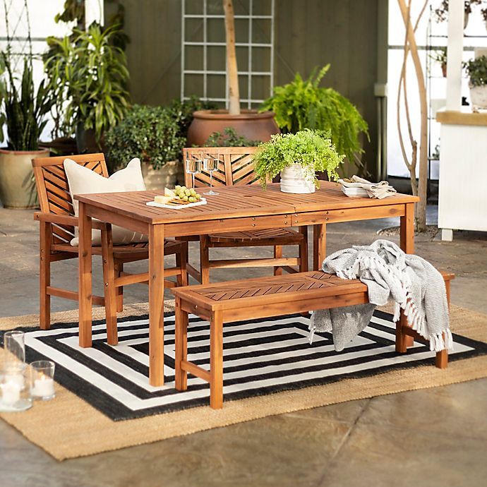 Alternate image 1 for Forest Gate Olive 4-Piece Outdoor Acacia Dining Set