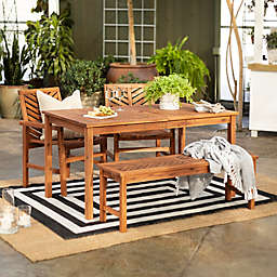 Forest Gate Olive 4-Piece Outdoor Acacia Dining Set