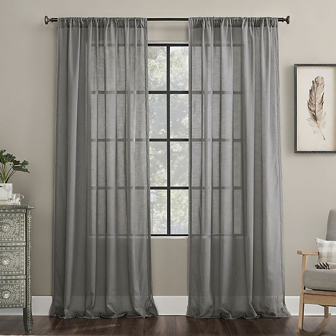 Alternate image 1 for Archaeo®  Border Cotton Blend Sheer Curtain (Single)