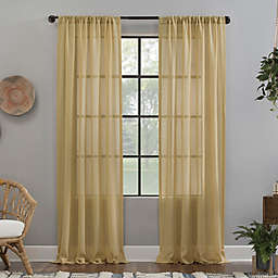 Clean Window® Crushed Texture Anti-Dust 96-Inch Sheer Curtain Panel in Yellow (Single)