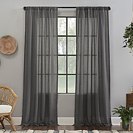 Clean Window® Crushed Texture Anti-Dust Sheer Rod Pocket Curtain Panel in Celadon