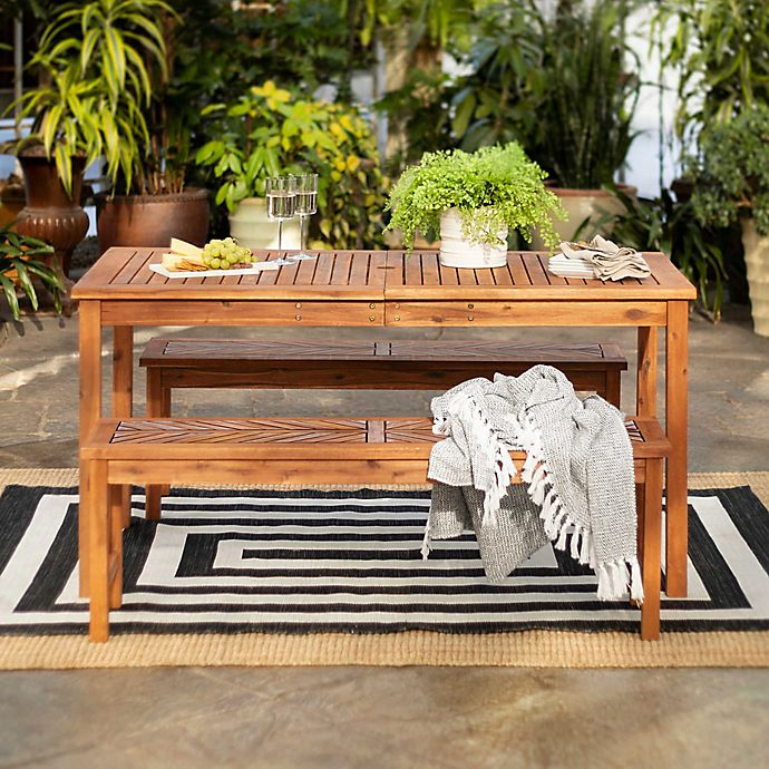 Alternate image 1 for Forest Gate Olive 3-Piece Outdoor Acacia Picnic Dining Set