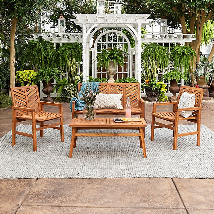 Alternate image 1 for Forest Gate Olive 4-Piece Outdoor Acacia Chat Set