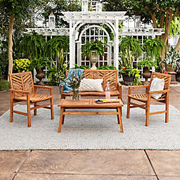 Forest Gate Olive 4-Piece Outdoor Acacia Chat Set