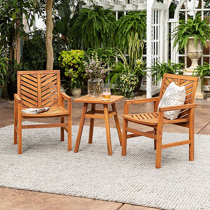 Alternate image 1 for Forest Gate Olive 3-Piece Acacia Outdoor Chat Set