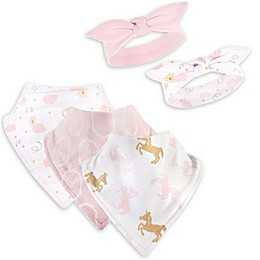 Yoga Sprout 5-Piece Unicorn Bib and Headband Set in Pink/White