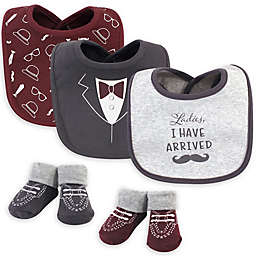 Hudson Baby® 5-Piece I Have Arrived Bib and Sock Set in Maroon/Grey