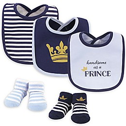 Hudson Baby Size 0-9M 5-Piece Prince Bib and Sock Set in Blue/Navy