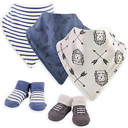 Yoga Sprout® 5-Piece Wild Woodland Bib and Sock Set in Blue/White