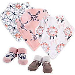 Yoga Sprout® 5-Piece Dreamcatcher Bib and Sock Set in Pink/White