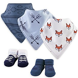 Yoga Sprout® Size 0-9M 5-Piece Clever Fox Bib and Sock Set in Blue/White