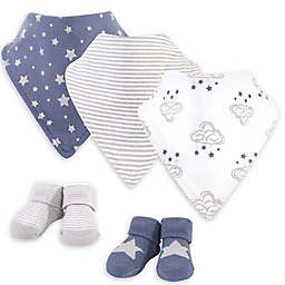 Hudson Baby® Size 0-9M 5-Piece Cloud Bib and Sock Set in Blue/White