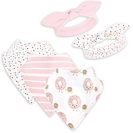 Hudson Baby® 5-Piece Donuts Bib and Headband Set in Pink/White