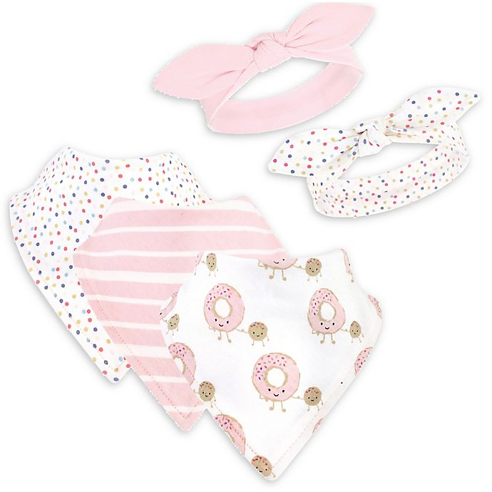 Alternate image 1 for Hudson Baby® 5-Piece Donuts Bib and Headband Set in Pink/White