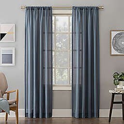 No.918® Amalfi Linen Blend Textured 63-Inch Rod Pocket Curtain Panel in Denim