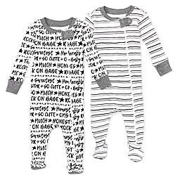 The Honest Company® Newborn 2-Pack Words Organic Cotton Sleep & Play Footies