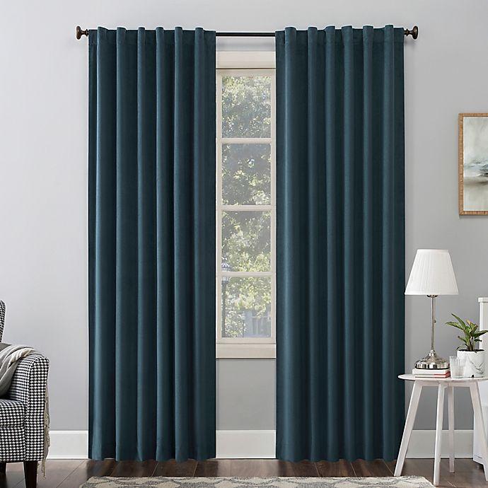 Alternate image 1 for Sun Zero Amherst Velvet Noise Reducing Thermal Total Blackout Back Tab Window Curtain Panel