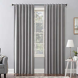 Sun Zero Amherst Velvet 96-Inch Thermal Total Blackout Back Tab Window Curtain Panel in Grey