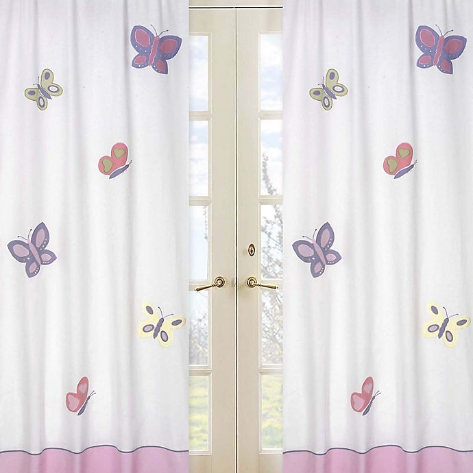 Alternate image 1 for Sweet Jojo Designs® Butterfly Window Curtain Panel Pair in Pink/Purple