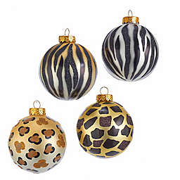 Animal Print Glass Ball Ornaments in Black/Gold/Silver (Set of 6)
