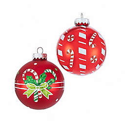 Candy Cane Glass Ball Ornaments in Red/White (Set of 6)