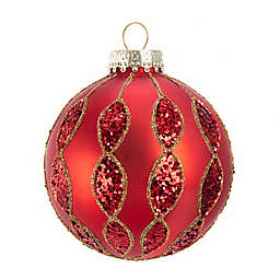 Kurt S. Adler Inc. 3.14-Inch Glass Glitter Ball Ornaments in Red/Gold (Set of 6)