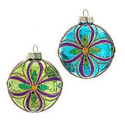 Kurt S. Adler Inc. 3.14-Inch Glass Multicolor Peacock Ball Ornaments (Set of 6)