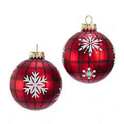 Kurt S. Adler® Plaid Snowflake Glass Ball Christmas Ornaments (Set of 6)