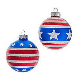 Patriotic Glass Ball Ornaments in Red/White/Blue (Set of 6)