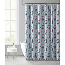 VCNY Home 72-Inch x 72-Inch Holly Jolly Paris Shower Curtain