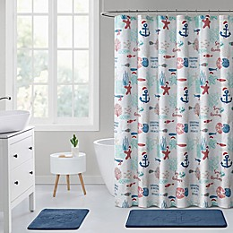 VCNY Home 72-Inch x 72-Inch Christmas at the Beach Shower Curtain in Blue