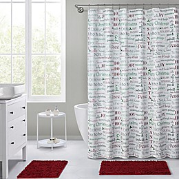 VCNY Home 72-Inch x 72-Inch Holiday Typography Shower Curtain in Red