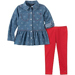 Tommy Hilfiger® 2-Piece Peplum Top and Legging Set in Denim