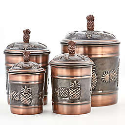Old Dutch International 4-Piece Pineapple Canister Set in Antique Copper