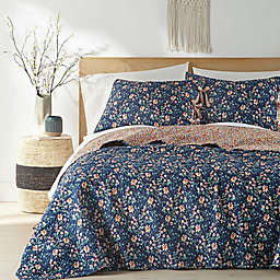 Georgina 2-Piece Reversible Twin Quilt Set in Navy/Cream