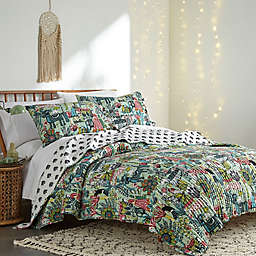 Joelle 3-Piece Reversible Full/Queen Quilt Set in Teal