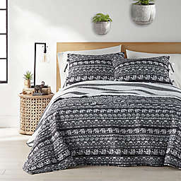 Kayam 2-Piece Reversible Twin Quilt Set in Charcoal