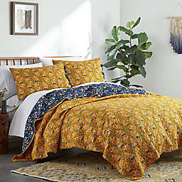 Bryce 3-Piece Reversible Quilt Set in Navy/Gold