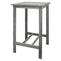Vifah Renaissance Hand-Scraped Patio Bar Table in Grey