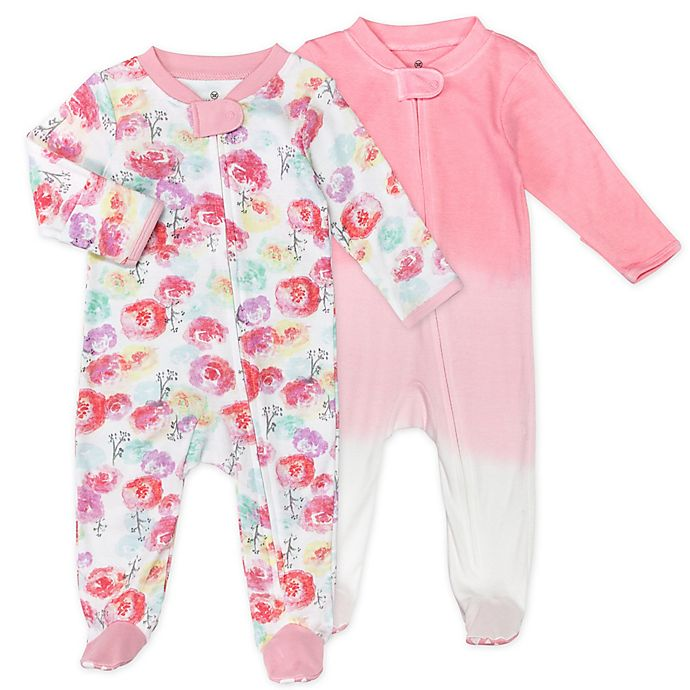 Alternate image 1 for The Honest Company® 2-Pack Rose Blossom Organic Cotton Sleep & Play Footies