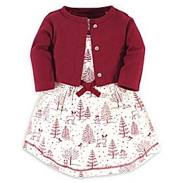 Touched by Nature 2-Piece Winter Organic Cotton Dress and Cardigan Set in Red